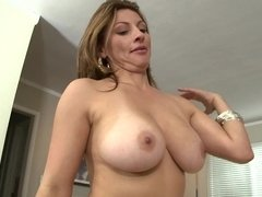 Arousing Latina babe with big natural boobies riding a pecker