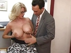 Mature secretary gets cum on her milk sacks
