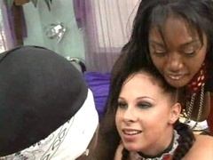 Black fuck pole has to serve a pair of breasty lady bosses
