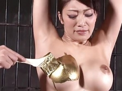Strange japanese gold fetish with hot thing giving footjob