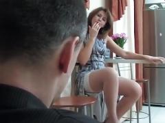 Hot lady seduces a guy
