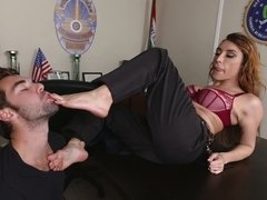 Hot cop girl gets her pussy stretched open by a jewel thief