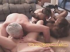 My two SLUTTY Granny Familiars eat CUM