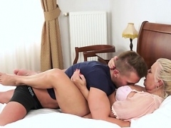 Boobalicious rookie granny banged hard by young-looking lad