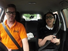 Fake Driving School Sexy Spanish Learner gives blowjob Sizeable Knob