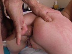 Blonde feels her butt getting plugged by a really large pecker