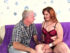 Plump Redhead Sucks a Thick Penis and Bangs