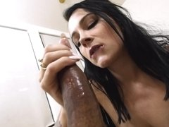 Beautiful Dallas Black sucks a big dick very well
