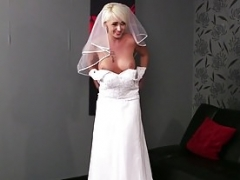 Big breasted british bride face covered in spunk point of view