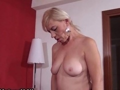 Blonde mature in stockings showing