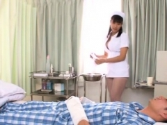 Asian nurse likes cock spinning in her fur pie and bum