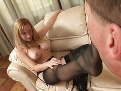 Hailey Immature & Aiden Starr footjob in leath