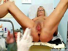 Granny blond Dorota gets her unshaved cum bucket gyno checked