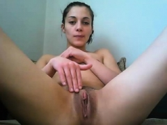 Regina Moon jerking off her love hole with a violet hard dong