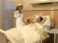 Teenie nurse Tyra Misoux gives her patient a good blowjob