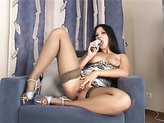 Tanya magnificent girl g-spot play in stockings and high-heeled boots