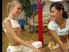 Deep backdoor lesbian strap on xxx Cindy and moreover Amber screwing each other in the gym