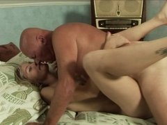Adorable blonde slut wants to get fucked by a really horny grandpa
