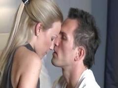 Clean-shaven man penetrating hot european babe