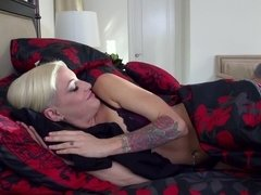 Blonde hottie Kissa Sins fucking her man all over the house