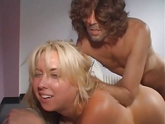 Innocent blonde gets her face covered in cum