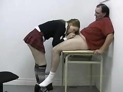 Schoolgirl gives bj and plus hand plusjobs her professor's cock