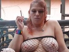 Rebel smoking twat play JOI in fishnets & heels