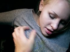 A blonde with a pretty face is getting her pussy stretched by a dick