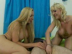 Slutty blonde mom teaching her teenage sweetie how to suck a dick