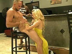 Youthful attractive blonde takes facial cumshot for money