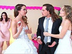 Amerikanisch, Schlafzimmer, Braut, Frau frau mann, Gruppe, Jungendliche (18+), Flotter dreier, Hochzeit