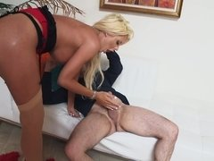 Courtney Taylor at her bimbo best sucking and sitting on a dick