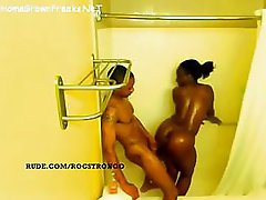 Ebony babe with big tits and booty getting fucked in shower - spy vid
