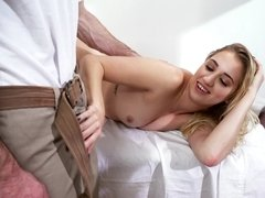 A babe is in the bathroom where she is getting fucked hard