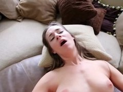 Long haired bitch sucks a big pecker and gets rammed with pleasure