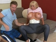 Blonde mom with huge round breasts