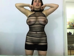 non-professional latina with large tits swallows cum of bbc