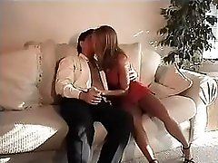 Blonde girl blows off on a fat cock and then fucks it on the couch