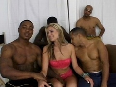 Blond slut on black purple poles