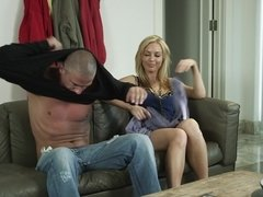 Big-titted babe and bald guy arranged sensual sex