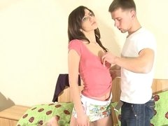 A slim beauty with tiny nipples is with her boyfriend, fucking