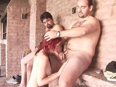 Nasty redhead shagged from behind by her dude