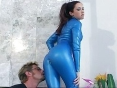 Drooling cock sucking in boots and latex