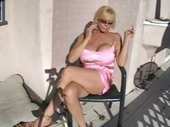 Hot Breasty Granny Smoking & Relaxing