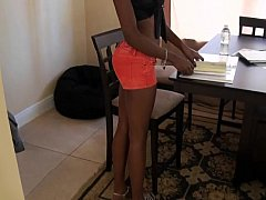 Black college girl giving head on camera