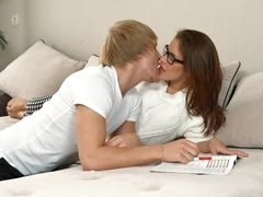 A bitch with a sexy pussy is enjoying her time with her man on the bed