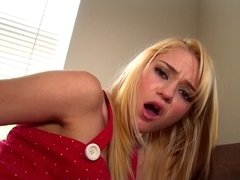 A blonde licks her toy and she shoves it in her cunt and on her clit