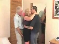 Aged Swinger Trio In A Hotel