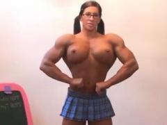 Huge happy button lady bodybuilder ridding dildo