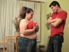 Underweight guy fucks large boobs fat gf on the floor